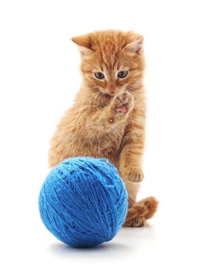 Κόκκινο γατάκι με μια σφαίρα στοκ εικόνα