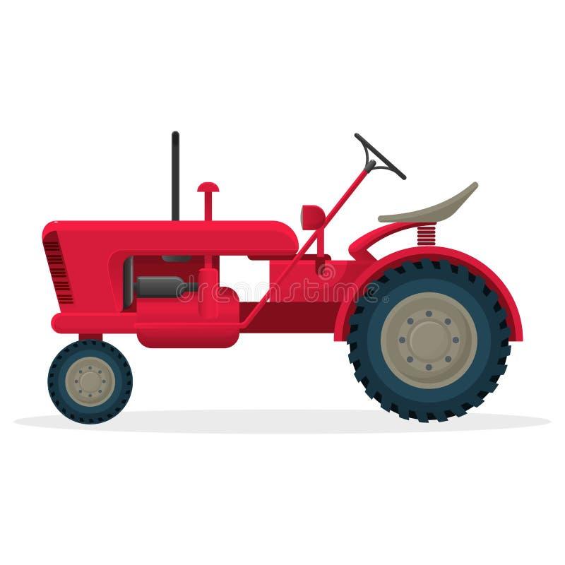 Κόκκινο γεωργικό τρακτέρ στις τεράστιες ρόδες για τις επιτόπιες έρευνες ελεύθερη απεικόνιση δικαιώματος
