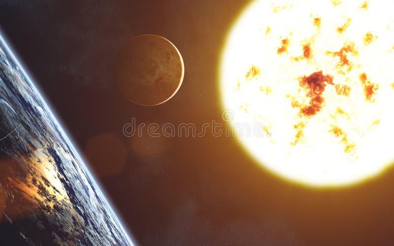 Κόκκινο γιγαντιαίο αστέρι ηλιακό σύστημα Αφροδίτη μονοπατιών υδραργύρου γήινης εστίασης ψαλιδίσματος ήλιος Γήινο τοπίο Αφροδίτη στοκ εικόνα με δικαίωμα ελεύθερης χρήσης