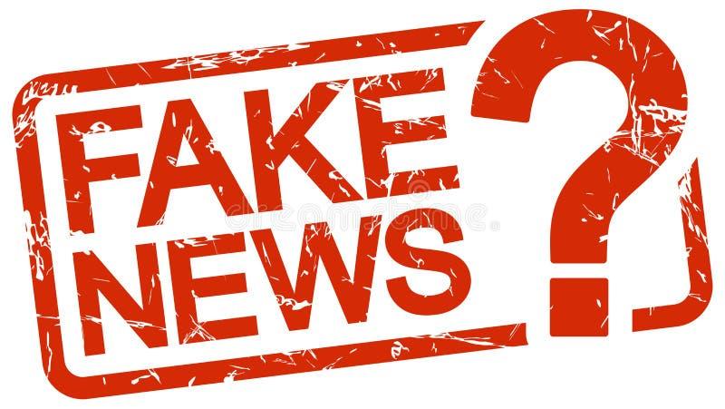 κόκκινο γραμματόσημο με τις πλαστές ειδήσεις κειμένων απεικόνιση αποθεμάτων