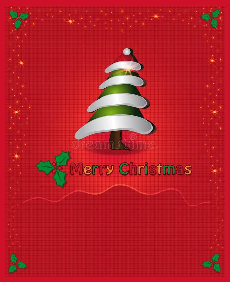 κόκκινο δέντρο συγχαρητη& διανυσματική απεικόνιση