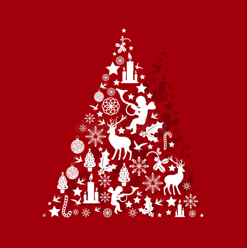 κόκκινο δέντρο Χριστουγέ&n απεικόνιση αποθεμάτων