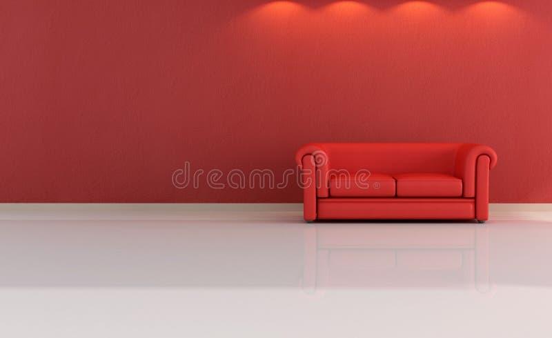 κόκκινο δέρματος καναπέδων στοκ εικόνες