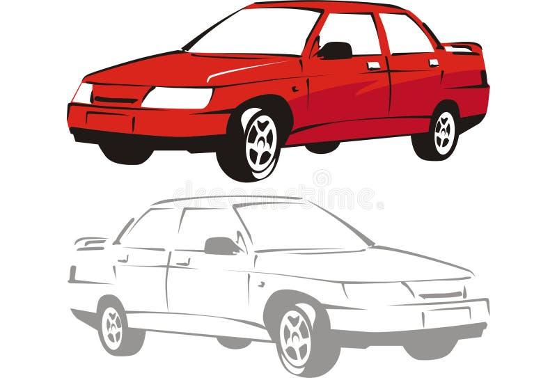 κόκκινο διάνυσμα αυτοκινήτων διανυσματική απεικόνιση