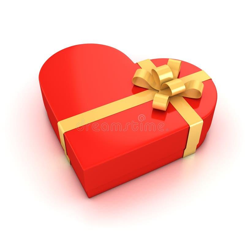 Κόκκινο διαμορφωμένο καρδιά κιβώτιο δώρων διανυσματική απεικόνιση