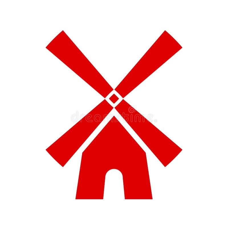 Κόκκινο διανυσματικό εικονίδιο ανεμόμυλων ελεύθερη απεικόνιση δικαιώματος