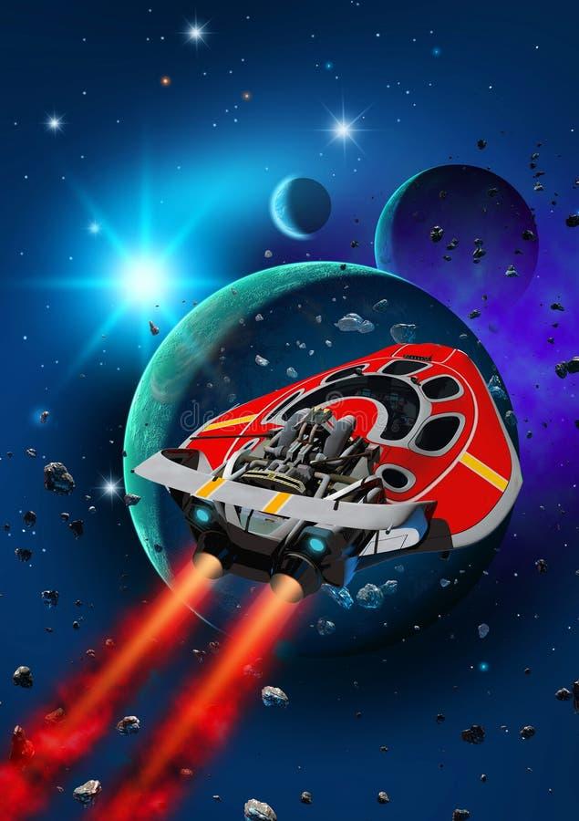 Κόκκινο διαστημόπλοιο που πετάει κοντά σε πλανητικό σύστημα με φεγγάρια Teo, 3d απεικόνιση διανυσματική απεικόνιση