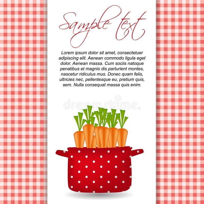 Κόκκινο δοχείο με τα καρότα. Οργανικός, σιτηρέσιο, υγιή τρόφιμα ελεύθερη απεικόνιση δικαιώματος