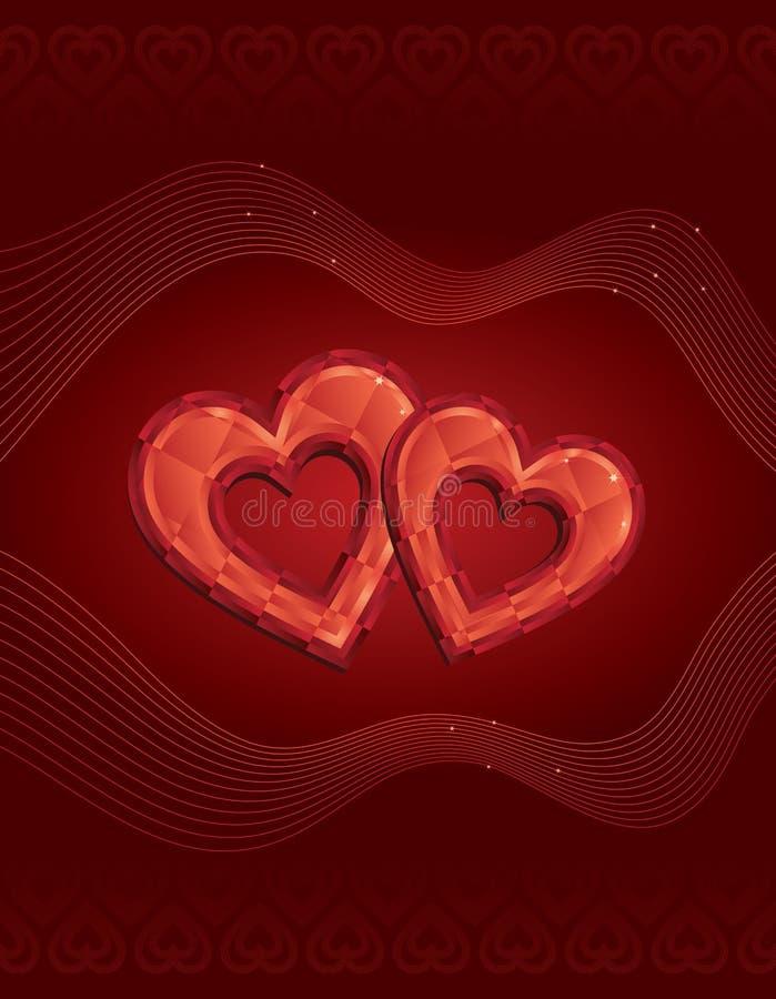 κόκκινο δύο καρδιών διαμα& απεικόνιση αποθεμάτων