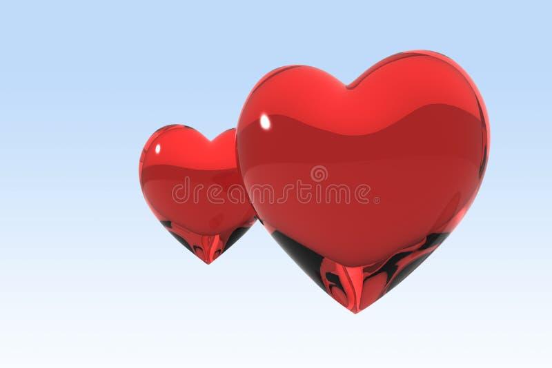 κόκκινο δύο καρδιών απεικόνιση αποθεμάτων