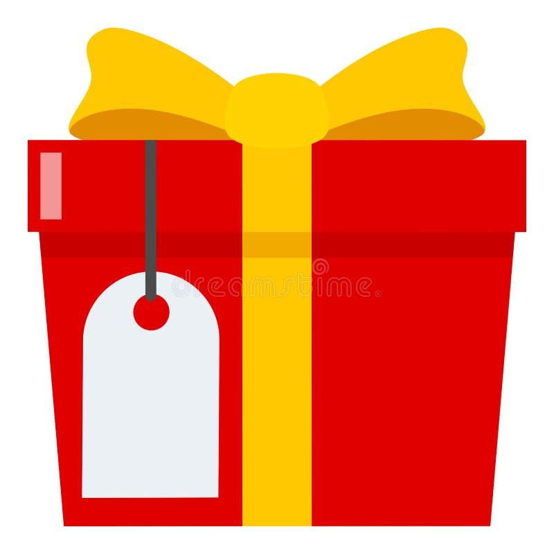 Κόκκινο δώρο με το κενό επίπεδο εικονίδιο ετικετών στο λευκό διανυσματική απεικόνιση