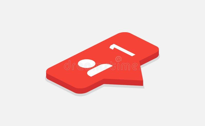 Κόκκινο εικονίδιο 1 ανακοίνωση οπαδών Isometric εικονίδιο Insta οπαδών συνομιλίες έννοιας επικοινωνίας δεσμών που έχουν τους ανθρ απεικόνιση αποθεμάτων
