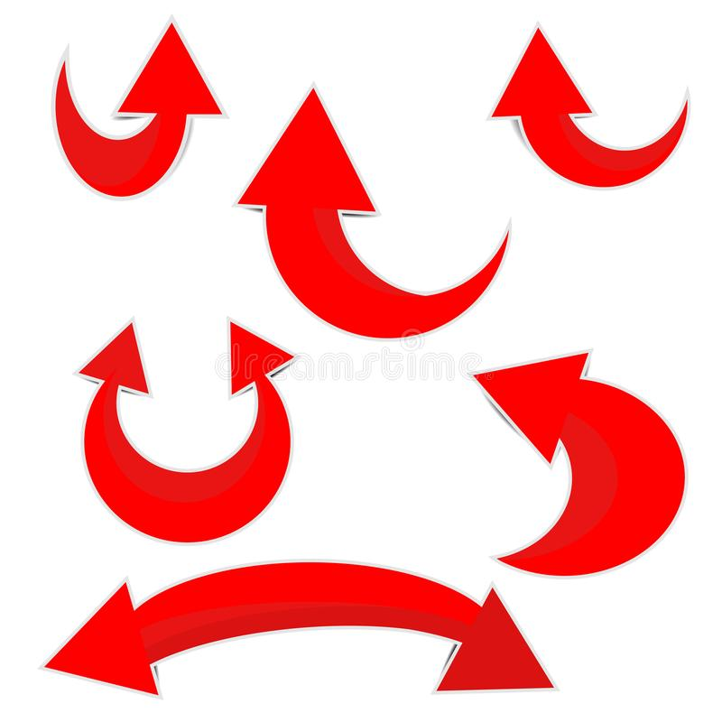 Κόκκινο εικονίδιο εγγράφου βελών που στρογγυλεύεται απεικόνιση αποθεμάτων