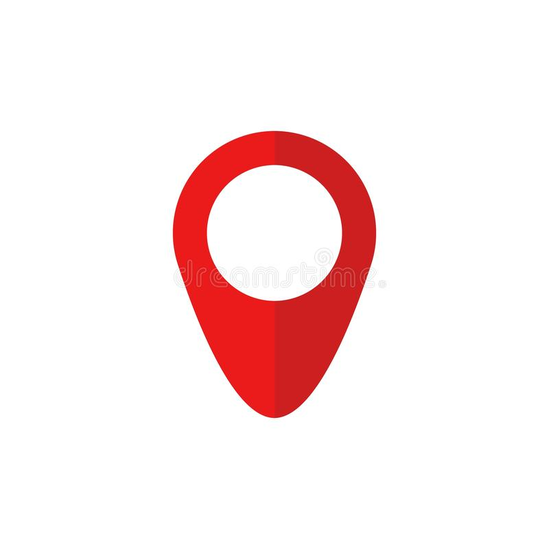 Κόκκινο εικονίδιο καρφιτσών χαρτών στο επίπεδο ύφος Σύμβολο δεικτών, σημάδι δεικτών, θέση ΠΣΤ, κουμπί ναυσιπλοΐας r διανυσματική απεικόνιση