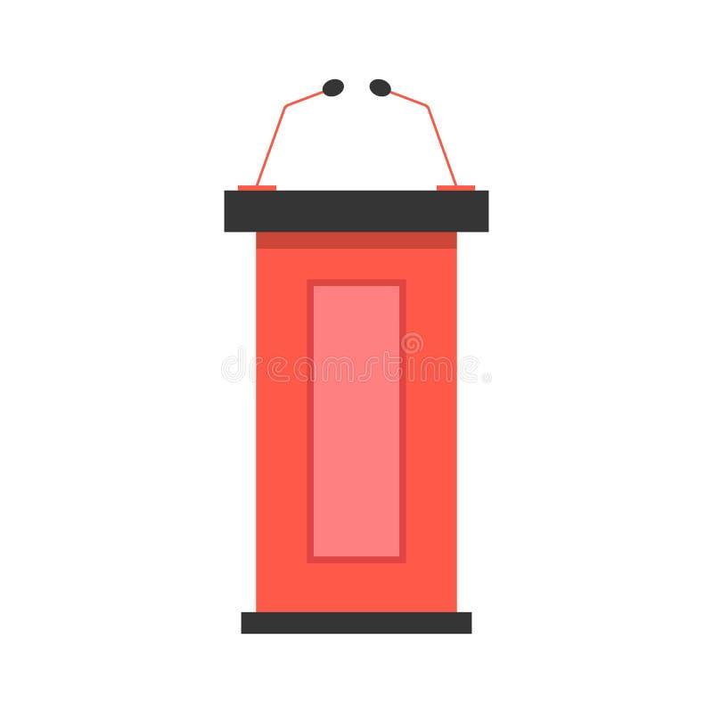 Κόκκινο εικονίδιο βημάτων με τα μικρόφωνα απεικόνιση αποθεμάτων
