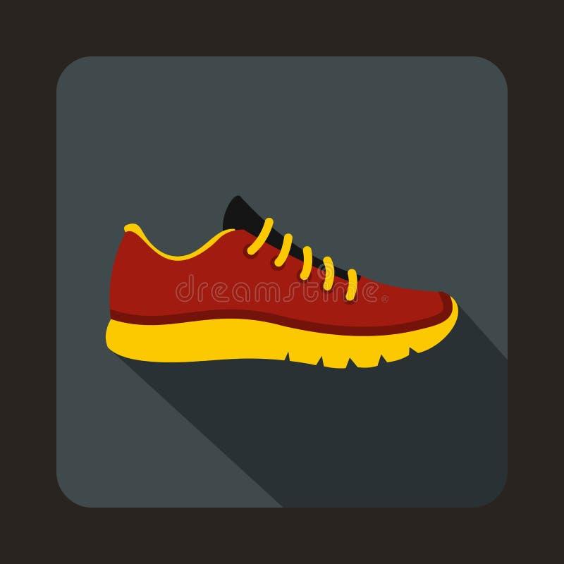 Κόκκινο εικονίδιο πάνινων παπουτσιών, επίπεδο ύφος διανυσματική απεικόνιση