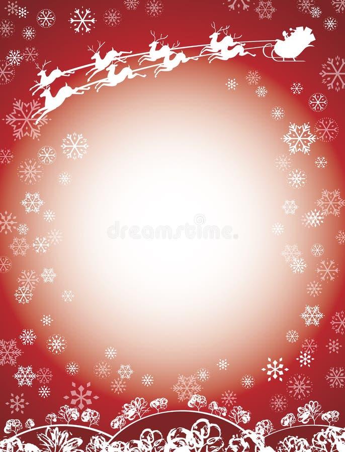 Κόκκινο ελκήθρων Santa και ταράνδων διανυσματική απεικόνιση