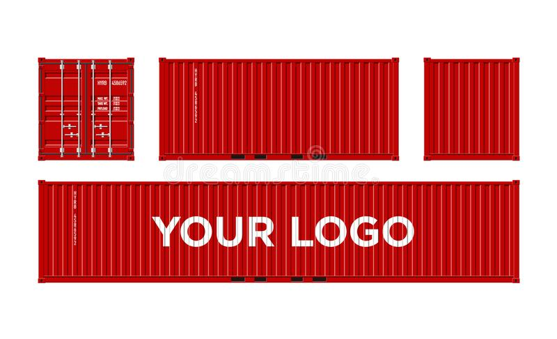 Κόκκινο εμπορευματοκιβώτιο στέλνοντας φορτίου για τις διοικητικές μέριμνες και μεταφορά που απομονώνεται στην άσπρη διανυσματική  ελεύθερη απεικόνιση δικαιώματος