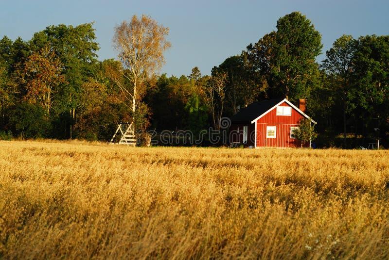 Κόκκινο εξοχικό σπίτι στοκ φωτογραφία