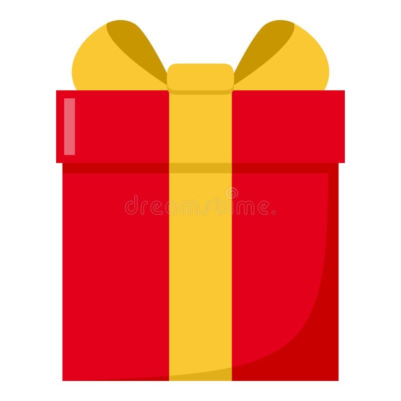 Κόκκινο επίπεδο εικονίδιο κιβωτίων δώρων που απομονώνεται στο λευκό ελεύθερη απεικόνιση δικαιώματος