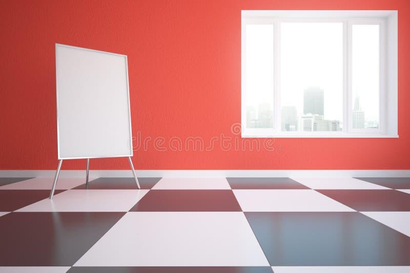 Κόκκινο εσωτερικό με το whiteboard απεικόνιση αποθεμάτων