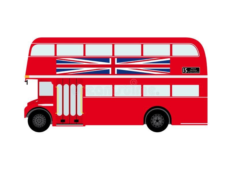 Κόκκινο λεωφορείο διόροφων λεωφορείων του Λονδίνου με το Union Jack διανυσματική απεικόνιση
