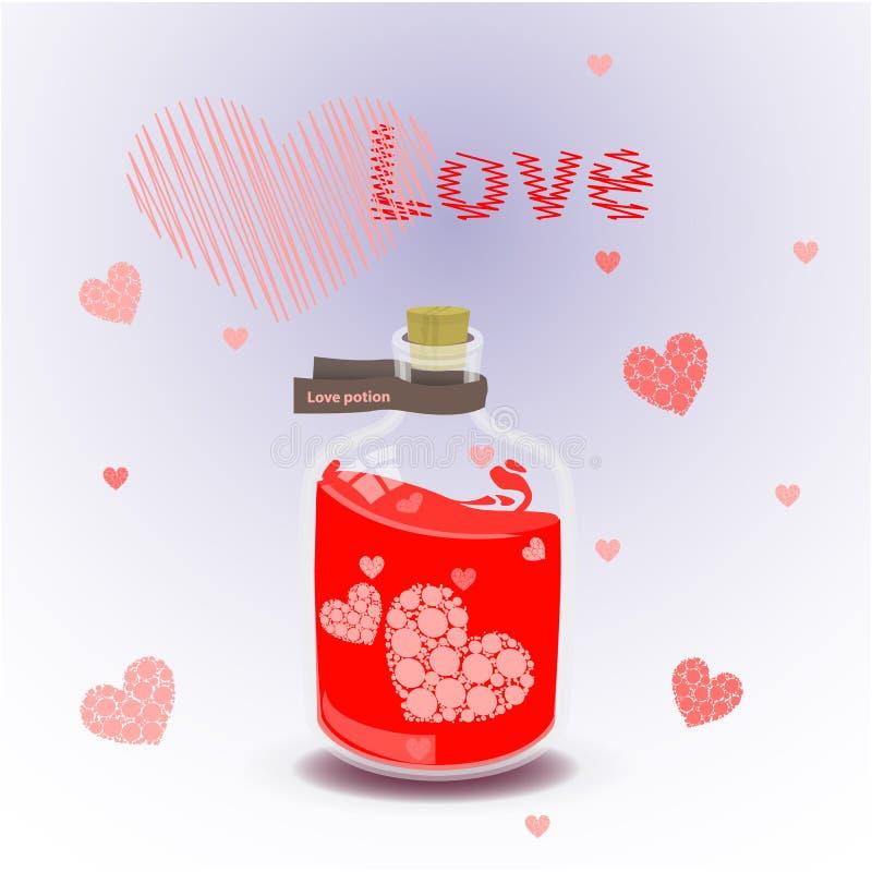 Κόκκινο ελιξίριο της αγάπης Απεικόνιση στο υπόβαθρο διανυσματική απεικόνιση