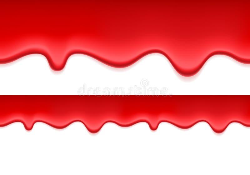 Κόκκινο ζελατίνα ή αίμα που στάζει πίσω Υγρή ροή απεικόνιση αποθεμάτων