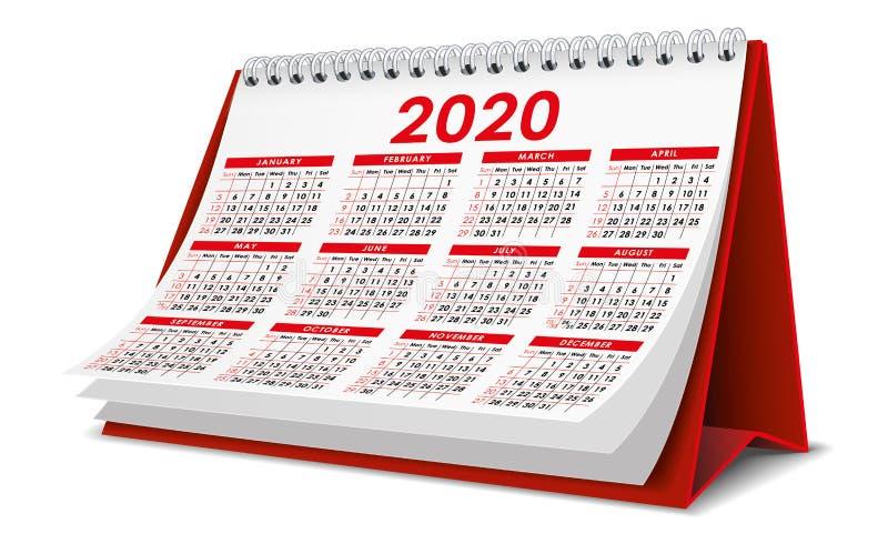 Κόκκινο ημερολόγιο 2020 ελεύθερη απεικόνιση δικαιώματος