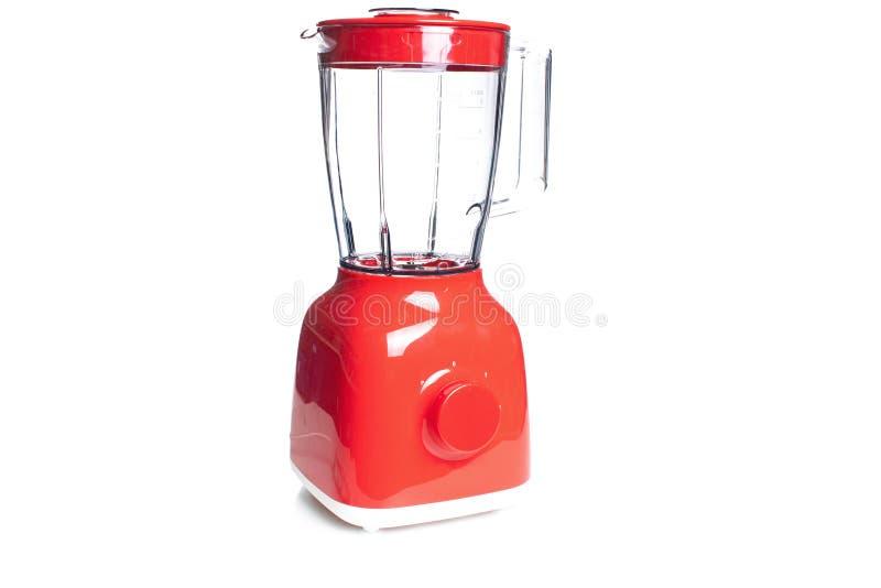 Κόκκινο ηλεκτρικό μπλέντερ που ψαρεύεται που απομονώνεται στο λευκό με ένα ψαλίδισμα PA στοκ φωτογραφία με δικαίωμα ελεύθερης χρήσης