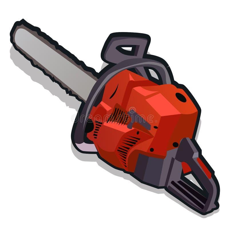 Κόκκινο ηλεκτρικό πριόνι, σειρά εργαλείων εργασίας διανυσματική απεικόνιση