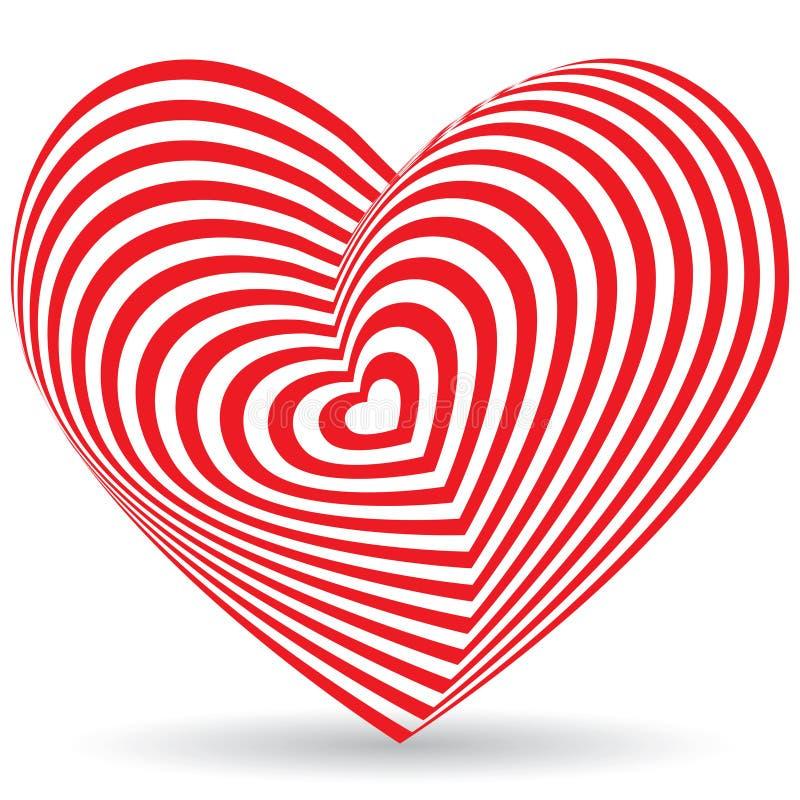 κόκκινο διανυσματικό λευκό απεικόνισης καρδιών ανασκόπησης Οπτική παραίσθηση τρισδιάστατου τρισδιάστατου απεικόνιση αποθεμάτων