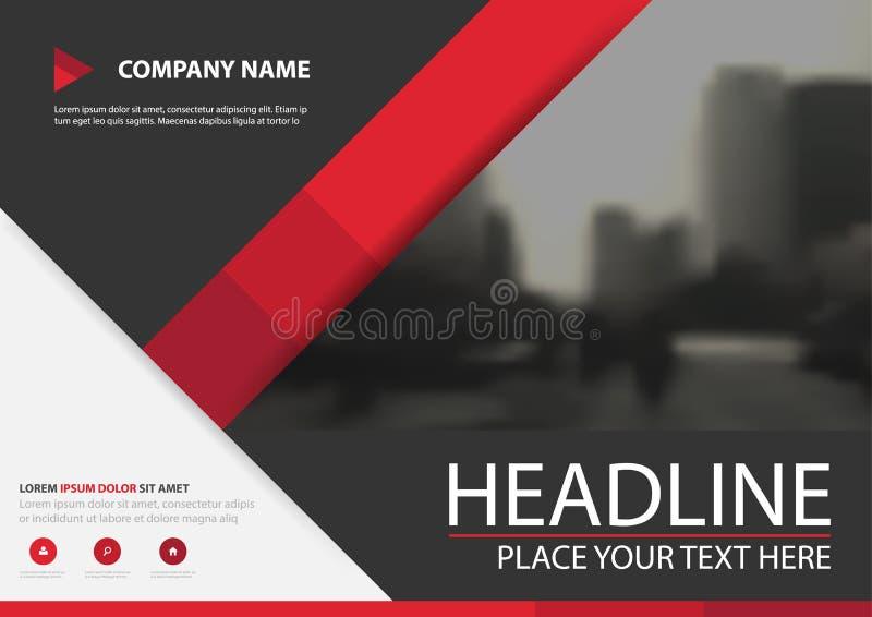 Κόκκινο διανυσματικό σχέδιο κάλυψης ιπτάμενων επιχειρησιακών φυλλάδιων τριγώνων, φυλλάδιο που διαφημίζει το αφηρημένο υπόβαθρο, σ ελεύθερη απεικόνιση δικαιώματος