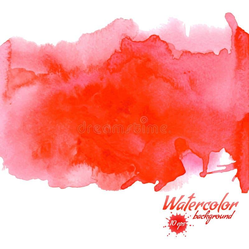 Κόκκινο διανυσματικό υπόβαθρο watercolor για τις συστάσεις και τα υπόβαθρα διανυσματική απεικόνιση