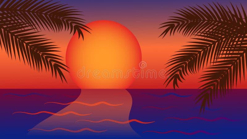 Κόκκινο κίτρινο ηλιοβασίλεμα στη θάλασσα με το φοίνικα απεικόνιση αποθεμάτων