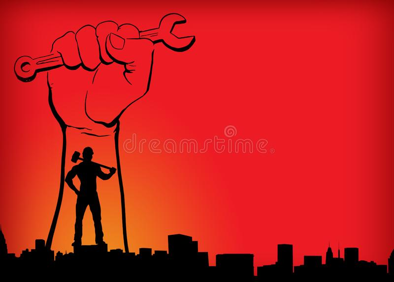 Κόκκινο κίτρινο πορτοκαλί υπόβαθρο ημέρας παγκόσμιων εργαζομένων ημέρας εργασίας με το άτομο χεριών στο υπόβαθρο πόλεων που χτίζε στοκ εικόνες