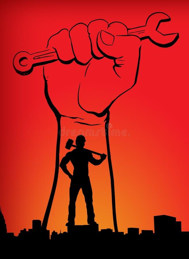 Κόκκινο κίτρινο πορτοκαλί υπόβαθρο ημέρας παγκόσμιων εργαζομένων ημέρας παγκόσμιας εργασίας με το άτομο χεριών με το σφυρί στοκ φωτογραφία με δικαίωμα ελεύθερης χρήσης