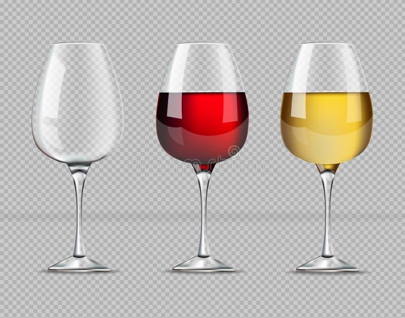 Κόκκινο και άσπρο διάνυσμα γυαλιών κρασιού ρεαλιστικό Επίσης απεικονίσεις κενές γυαλιού προτύπων απεικόνιση αποθεμάτων