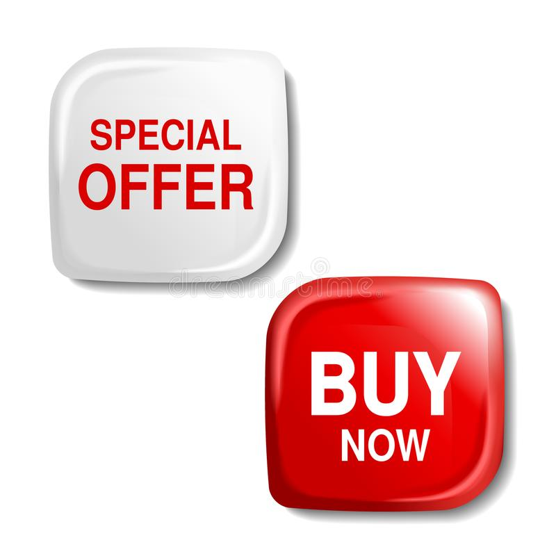 Κόκκινο και άσπρο στιλπνό κουμπί, πλαστική τετραγωνική ετικέτα με το κείμενο - η ειδική προσφορά, αγοράζει τώρα απεικόνιση αποθεμάτων