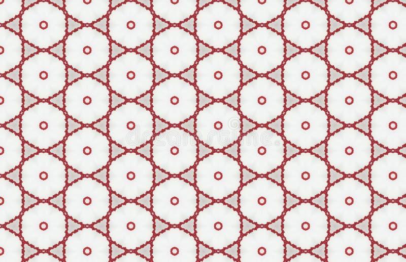 Κόκκινο και άσπρο σχέδιο σχεδίων κύκλων Hexagon μεγάλο αφηρημένο απεικόνιση αποθεμάτων