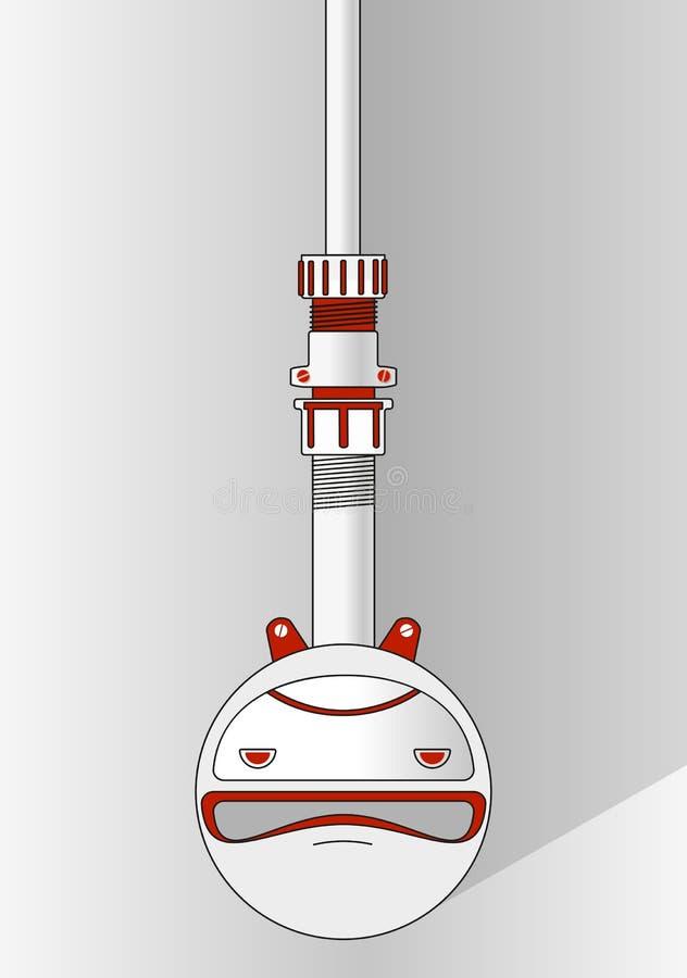 Κόκκινο και άσπρο emoticon - αστείο πρόσωπο χαμόγελου μέσα στον κύκλο Υπόβαθρο για το έμβλημα κειμένων, αφίσα, φυλλάδιο απεικόνιση αποθεμάτων