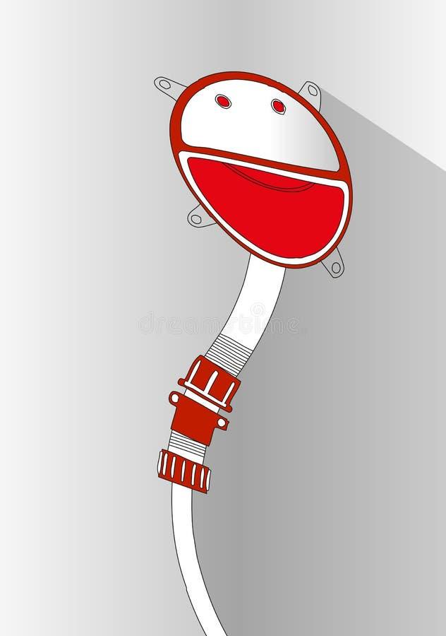 Κόκκινο και άσπρο emoticon - αστείο πρόσωπο χαμόγελου μέσα στον κύκλο Υπόβαθρο για το έμβλημα κειμένων, αφίσα, φυλλάδιο ελεύθερη απεικόνιση δικαιώματος