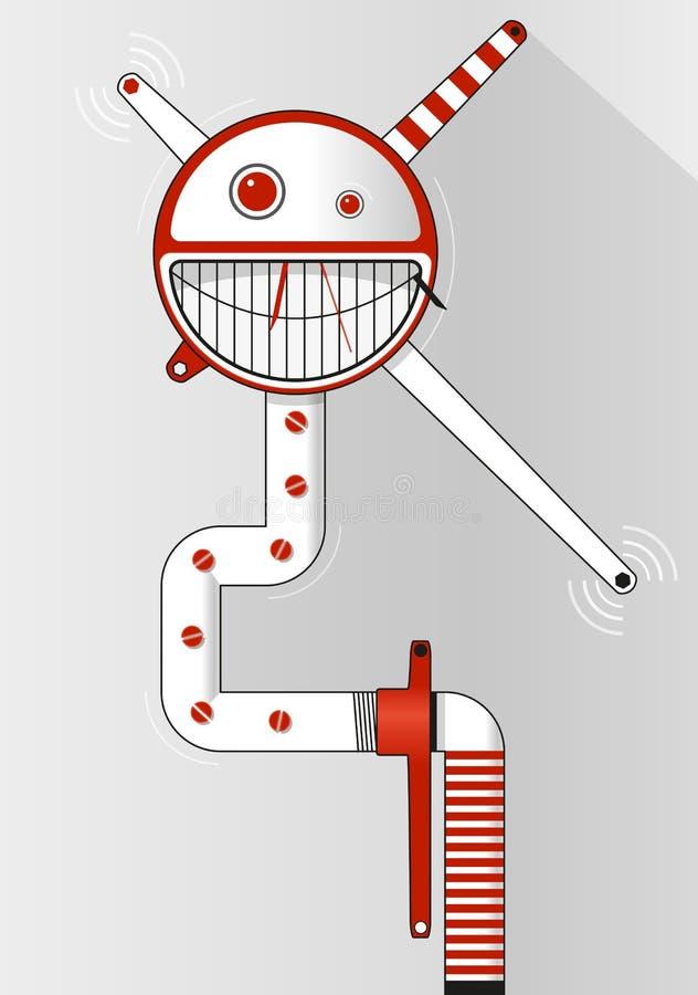 Κόκκινο και άσπρο emoticon - αστείο πρόσωπο χαμόγελου μέσα στον κύκλο Υπόβαθρο για το έμβλημα κειμένων, αφίσα, φυλλάδιο διανυσματική απεικόνιση