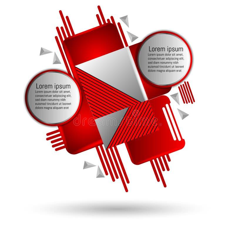 Κόκκινο και γκρίζο αφηρημένο υπόβαθρο τέχνης με τα γεωμετρικά στοιχεία διανυσματική απεικόνιση