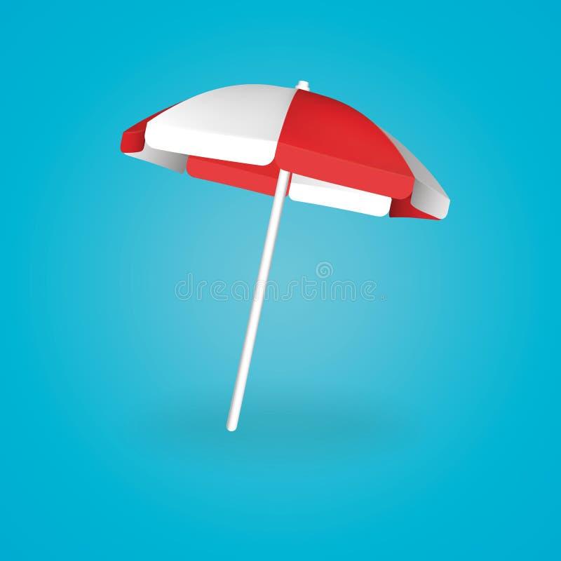Κόκκινο και λευκό ομπρελών παραλιών επίσης corel σύρετε το διάνυσμα απεικόνισης διανυσματική απεικόνιση