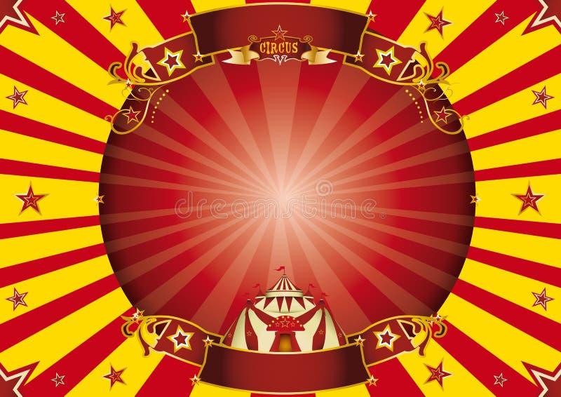 Κόκκινο και κίτρινο οριζόντιο υπόβαθρο τσίρκων απεικόνιση αποθεμάτων