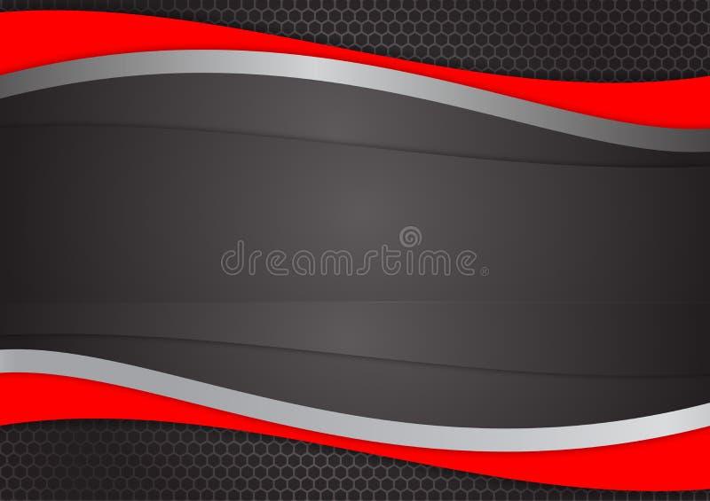 Κόκκινο και μαύρο αφηρημένο διανυσματικό υπόβαθρο κυμάτων διανυσματική απεικόνιση