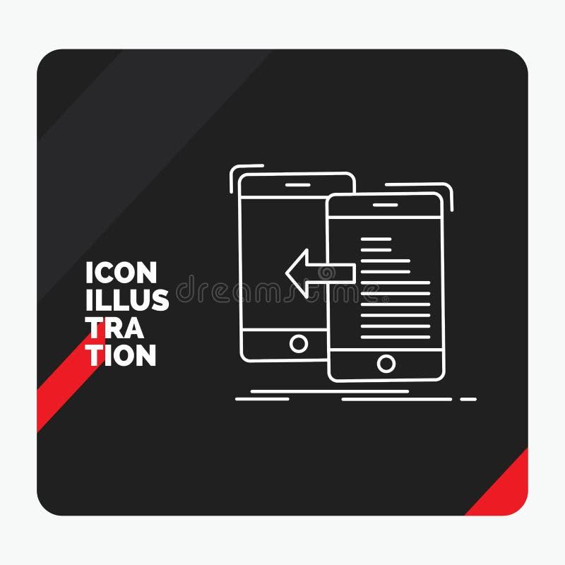 Κόκκινο και μαύρο δημιουργικό υπόβαθρο παρουσίασης για τα στοιχεία, μεταφορά, κινητή, διαχείριση, εικονίδιο γραμμών κίνησης διανυσματική απεικόνιση