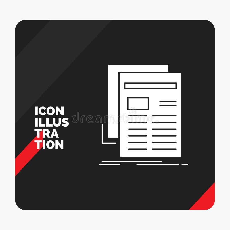 Κόκκινο και μαύρο δημιουργικό υπόβαθρο παρουσίασης για την εφημερίδα, μέσα, ειδήσεις, ενημερωτικό δελτίο, εικονίδιο Glyph εφημερί απεικόνιση αποθεμάτων