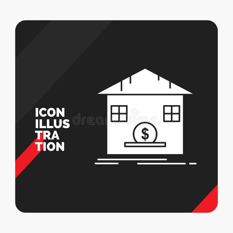 Κόκκινο και μαύρο δημιουργικό υπόβαθρο παρουσίασης για την κατάθεση, χρηματοκιβώτιο, αποταμίευση, επιστροφή ποσού, εικονίδιο Glyp διανυσματική απεικόνιση